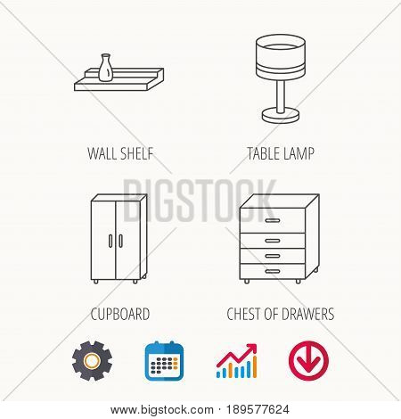 Table lamp, cupboard and wall shelf icons. Chest of drawers linear sign. Calendar, Graph chart and Cogwheel signs. Download colored web icon. Vector