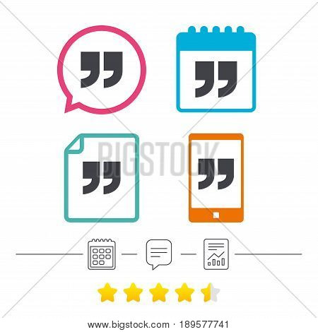 Quote sign icon. Quotation mark symbol. Double quotes at the end of words. Calendar, chat speech bubble and report linear icons. Star vote ranking. Vector