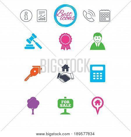 Information, report and calendar signs. Real estate, auction icons. Handshake, for sale and calculator signs. Key, tree and award medal symbols. Classic simple flat web icons. Vector