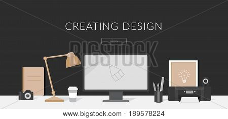 Banner workplace for the website and mobile design. Workplace of the designer and Illustrator. Workspace in the office. Business and creative concept. Collection of elements laptop, lamp, coffee, printer, camera, poster, pencils.