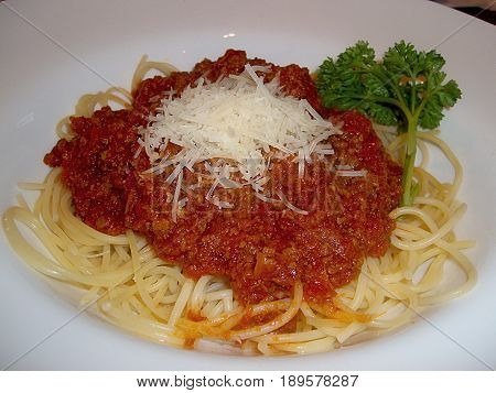 Spaghetti with meat sauce and basil leaf Spaghetti with meat sauce topped with cheese strips and basil leaf served in a round white plate