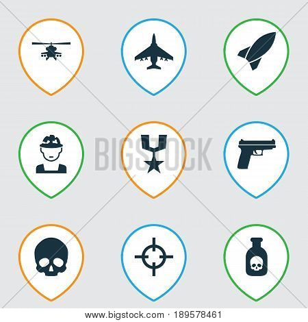 Combat Icons Set. Collection Of Aircraft, Cranium, Weapons And Other Elements. Also Includes Symbols Such As Oficer, Gong, Head.