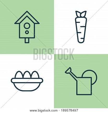 Garden Icons Set. Collection Of Bailer, Birdhouse, Ovum And Other Elements. Also Includes Symbols Such As Can, Water, Ovule.