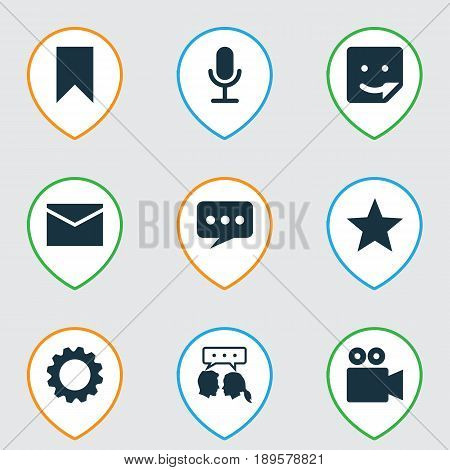 Media Icons Set. Collection Of Chat, Letter, Star And Other Elements. Also Includes Symbols Such As Favorite, Chat, Smile.