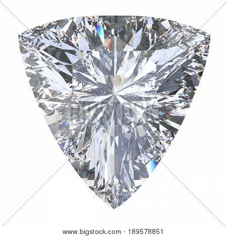 3D illustration trillion curved diamond stone on a white background