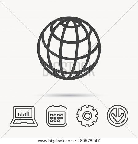 Globe icon. World travel sign. Internet network symbol. Notebook, Calendar and Cogwheel signs. Download arrow web icon. Vector