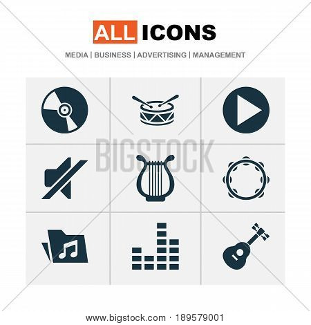 Audio Icons Set. Collection Of Cd, Lyre, Timbrel And Other Elements. Also Includes Symbols Such As Dossier, Volume, Harp.