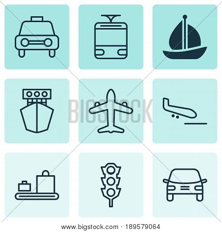 Vehicle Icons Set. Collection Of Automobile, Sailboat, Stoplight And Other Elements. Also Includes Symbols Such As Ship, Streetcar, Car.