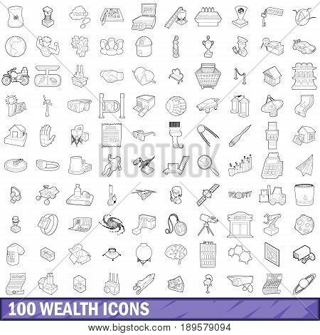 100 wealth icons set in outline style for any design vector illustration