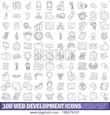 100 web development icons set in outline style for any design vector illustration