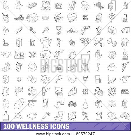 100 wellness icons set in outline style for any design vector illustration