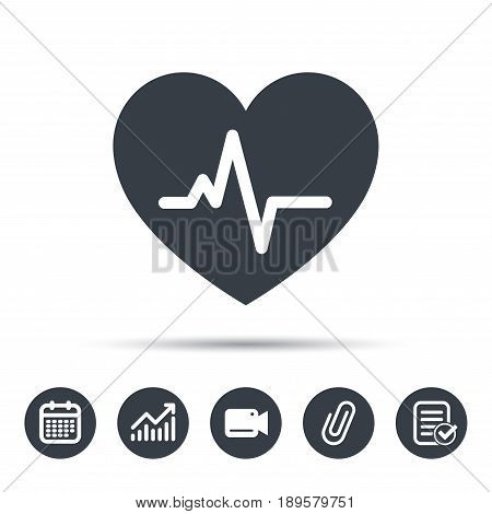 Heartbeat icon. Cardiology symbol. Medical pressure sign. Calendar, chart and checklist signs. Video camera and attach clip web icons. Vector poster