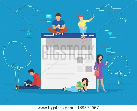 Social network web site surfing concept illustration of young people using mobile gadgets such as smarthone, tablet and laptop to be a part of online community. Flat guys and women sitting on conceptual website page with networking symbols