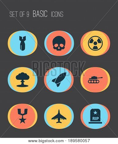 Combat Icons Set. Collection Of Atom, Dangerous, Rocket And Other Elements. Also Includes Symbols Such As Dynamite, Missile, Fighter.