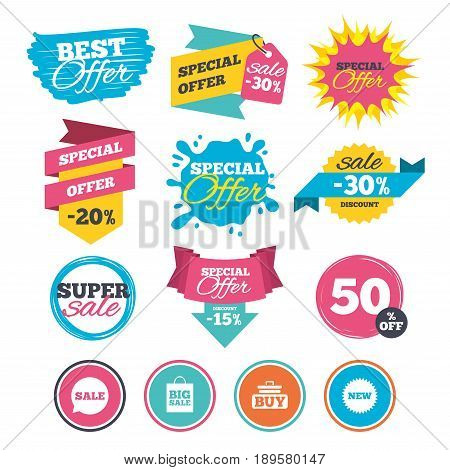 Sale banners, online web shopping. Sale speech bubble icon. Buy cart symbol. New star circle sign. Big sale shopping bag. Website badges. Best offer. Vector