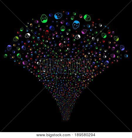 Man Head salute stream. Vector illustration style is flat bright multicolored iconic symbols on a black background. Object fireworks fountain made from random icons.