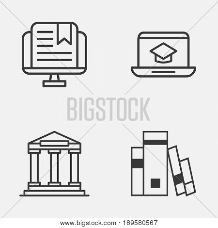 Education Icons Set. Collection Of College, Library, Distance Learning And Other Elements. Also Includes Symbols Such As Study, Book, Online.