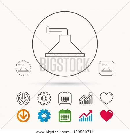 Kitchen hood icon. Kitchenware equipment sign. Calendar, Graph chart and Cogwheel signs. Download and Heart love linear web icons. Vector