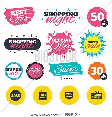 Sale shopping banners. Special offer splash. Sale speech bubble icons. Buy now arrow symbols. Black friday gift box signs. Big sale shopping bag. Web badges and stickers. Best offer. Vector
