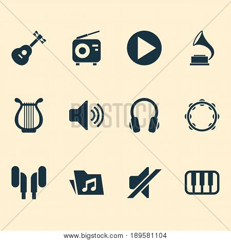 Audio Icons Set. Collection Of Start, Earmuff, Sound And Other Elements. Also Includes Symbols Such As Play, Volume, Timbrel.