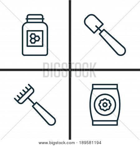 Farm Icons Set. Collection Of Shovel, Jar, Fertilizer And Other Elements. Also Includes Symbols Such As Scapula, Honey, Bottle.
