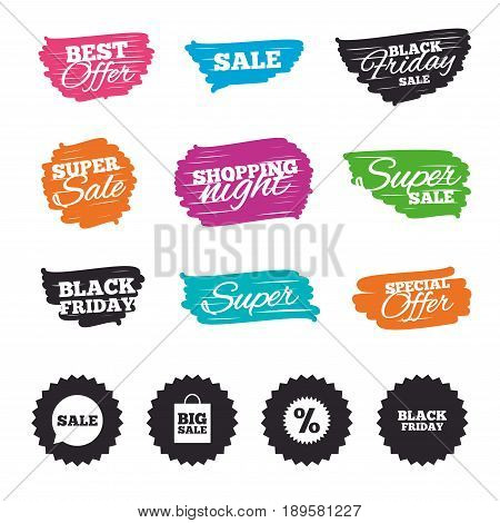 Ink brush sale banners and stripes. Sale speech bubble icon. Discount star symbol. Black friday sign. Big sale shopping bag. Special offer. Ink stroke. Vector