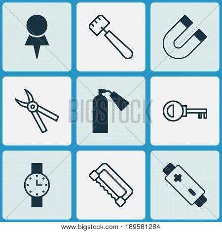 Instrument Icons Set. Collection Of Carpentry, Spatula, Alkaline And Other Elements. Also Includes Symbols Such As Pincers, Clock, Cutter.