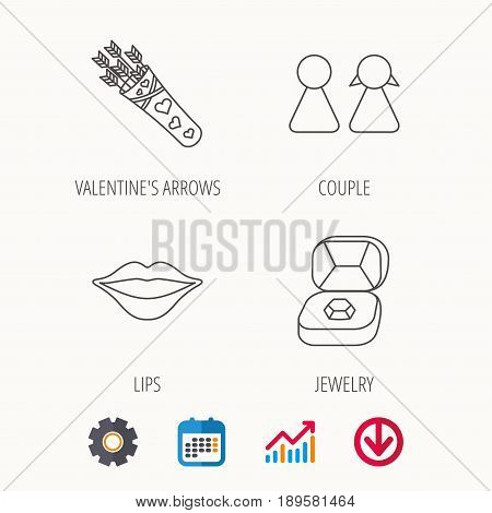 Couple, kiss lips and jewelry icons. Valentine amour arrows linear sign. Calendar, Graph chart and Cogwheel signs. Download colored web icon. Vector