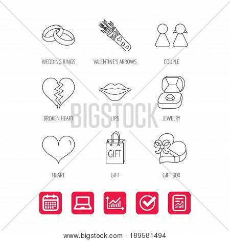 Love heart, kiss and wedding rings icons. Broken heart, couple and gift box linear signs. Valentine amour arrows flat line icons. Report document, Graph chart and Calendar signs. Vector