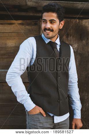 Beautiful Mustache Young Man Have Fun Outdoor