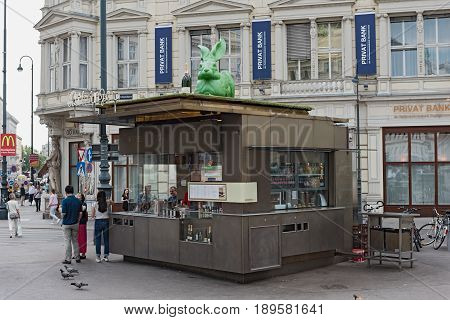 VIENNA, AUSTRIA-JUNE 01, 2017: The Wuerstelstand (sausage stand) in front of Albertina, Vienna