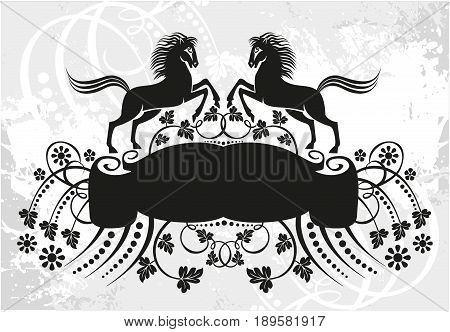 Black and white floral frame with branches and horses