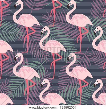 Fashion seamless vector pattern. Flamingo pattern. Tropical bird and leaf