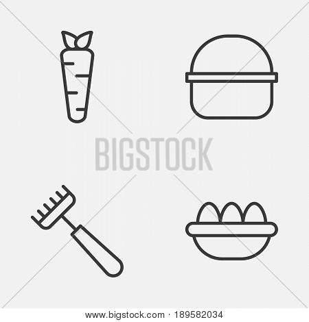 Farm Icons Set. Collection Of Package, Root, Rake And Other Elements. Also Includes Symbols Such As Ovum, Package, Basket.