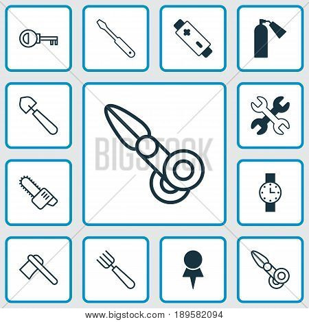 Apparatus Icons Set. Collection Of Turn Screw, Garden Fork, Gasoline Cutter And Other Elements. Also Includes Symbols Such As Location, Trowel, Fork.