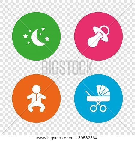 Moon and stars symbol. Baby infants icon. Buggy and dummy signs. Child pacifier and pram stroller. Round buttons on transparent background. Vector