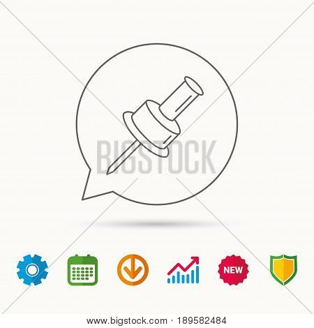 Pushpin icon. Pin tool sign. Office stationery symbol. Calendar, Graph chart and Cogwheel signs. Download and Shield web icons. Vector