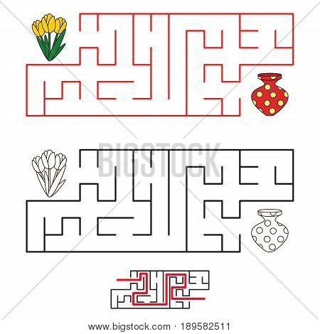 Search The Labyrinth Way. Kid Maze Game To Be Colored.