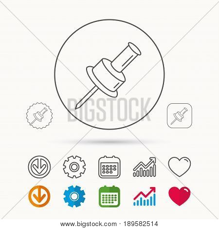 Pushpin icon. Pin tool sign. Office stationery symbol. Calendar, Graph chart and Cogwheel signs. Download and Heart love linear web icons. Vector