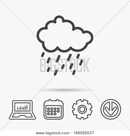 Rain icon. Water drops and cloud sign. Rainy overcast day symbol. Notebook, Calendar and Cogwheel signs. Download arrow web icon. Vector