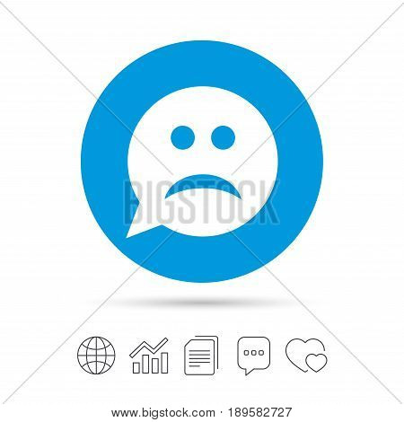 Sad face sign icon. Sadness depression chat symbol. Speech bubble. Copy files, chat speech bubble and chart web icons. Vector