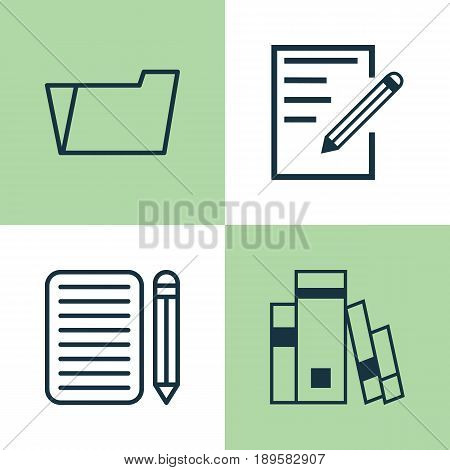 Education Icons Set. Collection Of Library, Document Case, Home Work And Other Elements. Also Includes Symbols Such As Essay, Book, Learning.