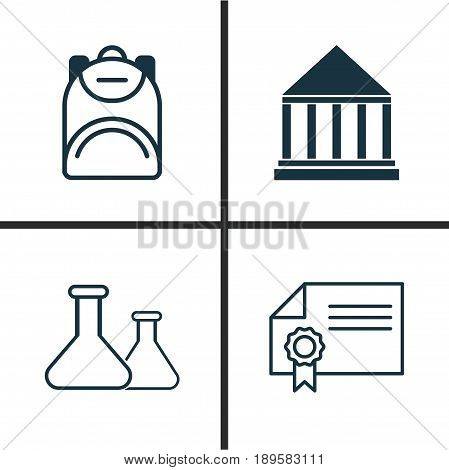 School Icons Set. Collection Of Haversack, Chemical, Diploma And Other Elements. Also Includes Symbols Such As Knapsack, Building, School.