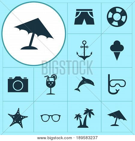 Sun Icons Set. Collection Of Video, Smelting, Spectacles And Other Elements. Also Includes Symbols Such As Armature, Cocos, Video.