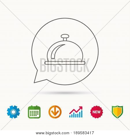 Reception bell icon. Hotel service sign. Calendar, Graph chart and Cogwheel signs. Download and Shield web icons. Vector