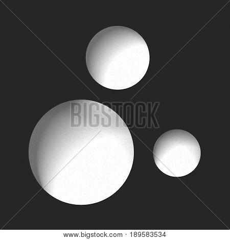 Three round holes in the black surface, abstract vector minimal background