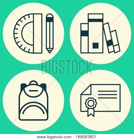 Education Icons Set. Collection Of Haversack, Library, Education Tools And Other Elements. Also Includes Symbols Such As Bag, Diploma, Book.