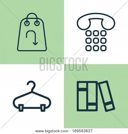 E-Commerce Icons Set. Collection Of Callcentre, Refund, Bookshelf And Other Elements. Also Includes Symbols Such As Center, Hanger, Return.