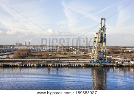 The industrial view along Saint Johns River in Jacksonville city (Florida).