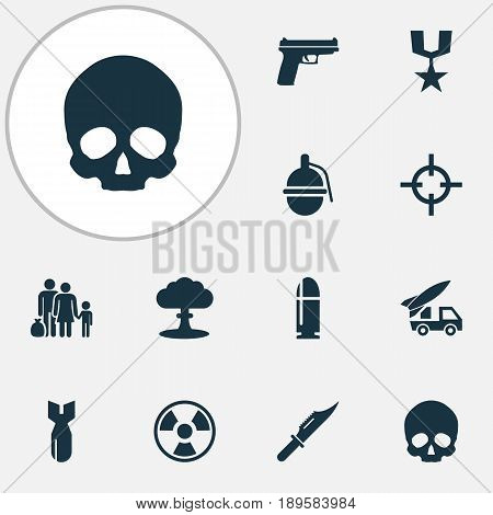 Warfare Icons Set. Collection Of Weapons, Ordnance, Slug And Other Elements. Also Includes Symbols Such As Nuclear, Cranium, Grenade.
